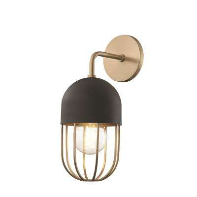 Haley 1-Light Aged Brass Wall Sconce with Black Accents