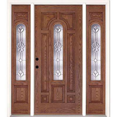 67.5 in.x81.625 in. Medina Zinc Center Arch Lt Stained Medium Oak Right-Hand Fiberglass Prehung Front Door w/ Sidelites