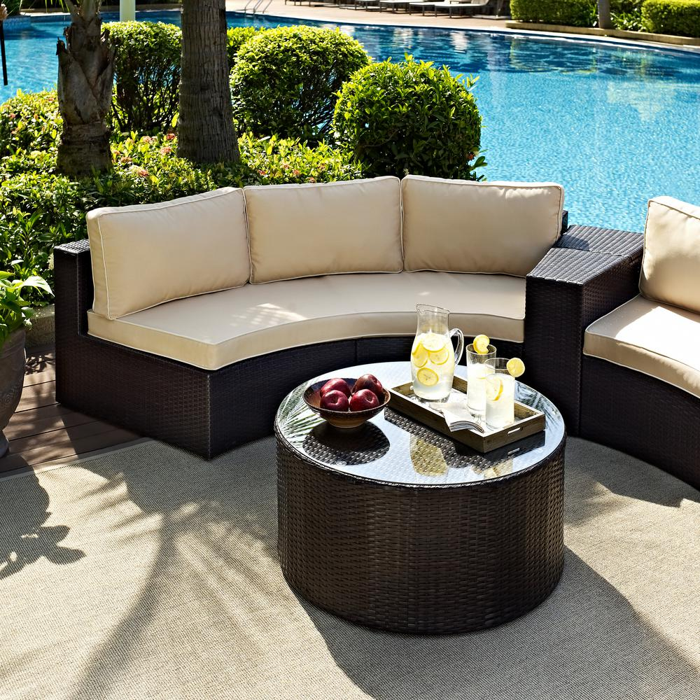 Crosley Catalina 2-Piece Wicker Outdoor Sofa Set with Sand Cushions