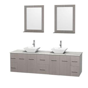 Wyndham Collection Centra 80 inch Double Vanity in Gray Oak with Marble Vanity Top in Carrara White, Porcelain Sinks and... by Wyndham Collection
