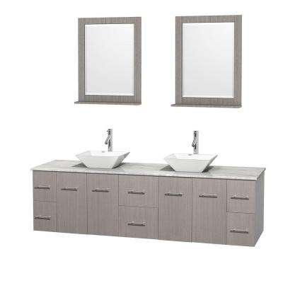 Centra 80 in. Double Vanity in Gray Oak with Marble Vanity Top in Carrara White, Porcelain Sinks and 24 in. Mirror
