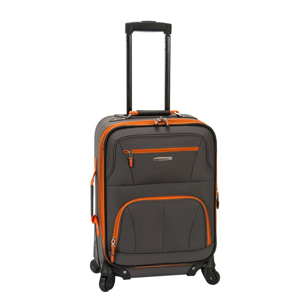 Rockland Pasadena 19 In Expandable Spinner Carry On F2281 Charcoal The Home Depot