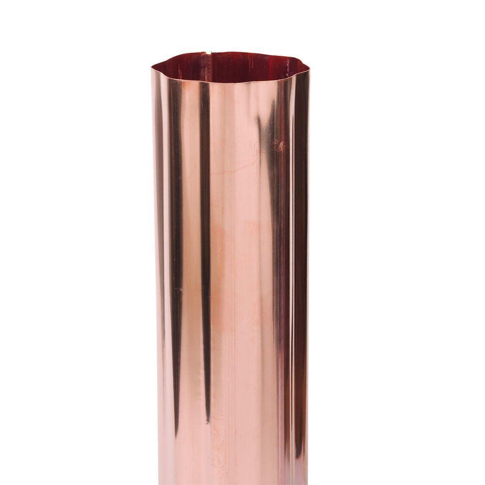 3 in. Half-Round Copper Gutter Corrugated Round Downspout