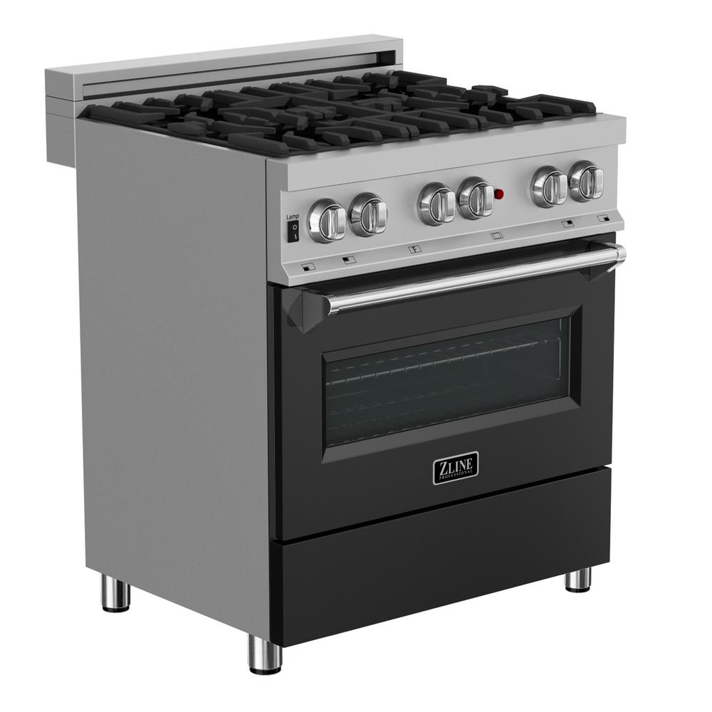 ZLINE Kitchen and Bath 30 in  Professional 4 0 cu  ft  Dual Fuel Range in  Snow Stainless with Black Matte Door