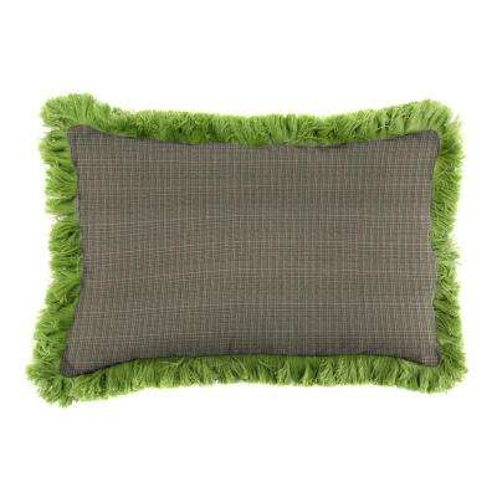 Sunbrella 9 in. x 22 in. Surge Charcoal Lumbar Outdoor Pillow with Gingko Fringe