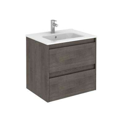 23.9 in. W x 18.1 in. D x 22.3 in. H Bathroom Vanity Unit in Samara Ash with Vanity Top and Basin in White