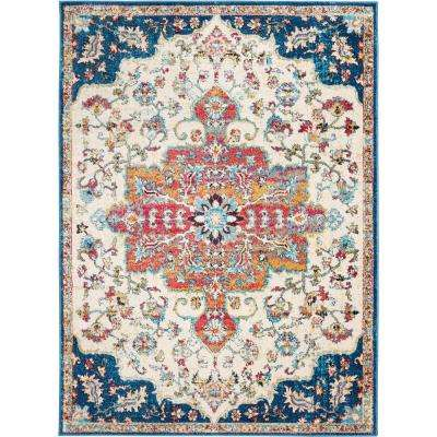 Serena Daina Ivory/Navy 5 ft. 3 in. x 7 ft. 2 in. Indoor Area Rug