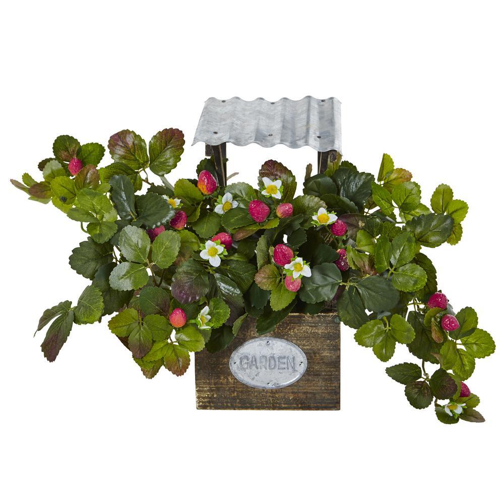 Indoor 13.75 in. H Strawberry Artificial Flowering Bush in Garden Planter