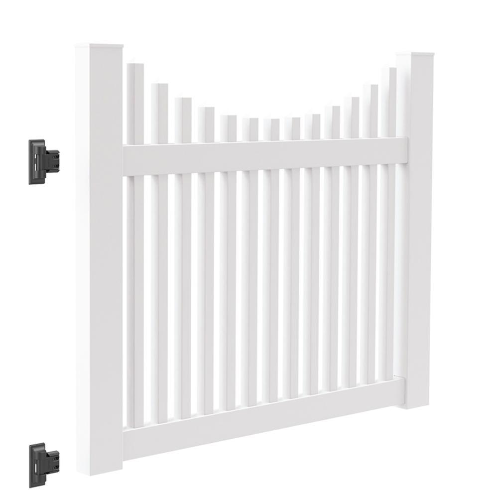 Ottawa Scallop 5 ft. W x 4 ft. H White Vinyl Un-Assembled Fence Gate