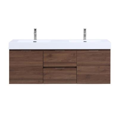 Valeria 59 in. Wall Mounted Bathroom Vanity in Walnut with Resin Vanity Top in White with Double White Basins