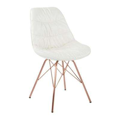 Langdon White Faux Leather Chair with Rose Gold Base