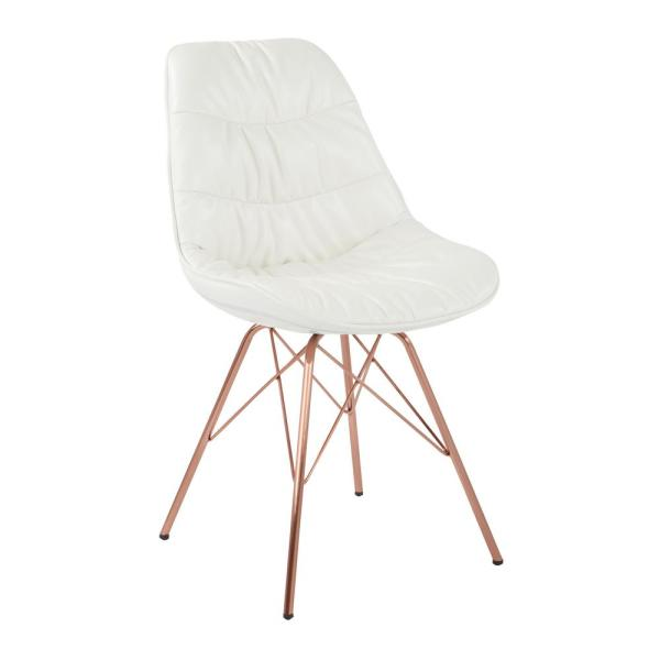 OSP Home Furnishings Langdon White Faux Leather Chair with Rose Gold