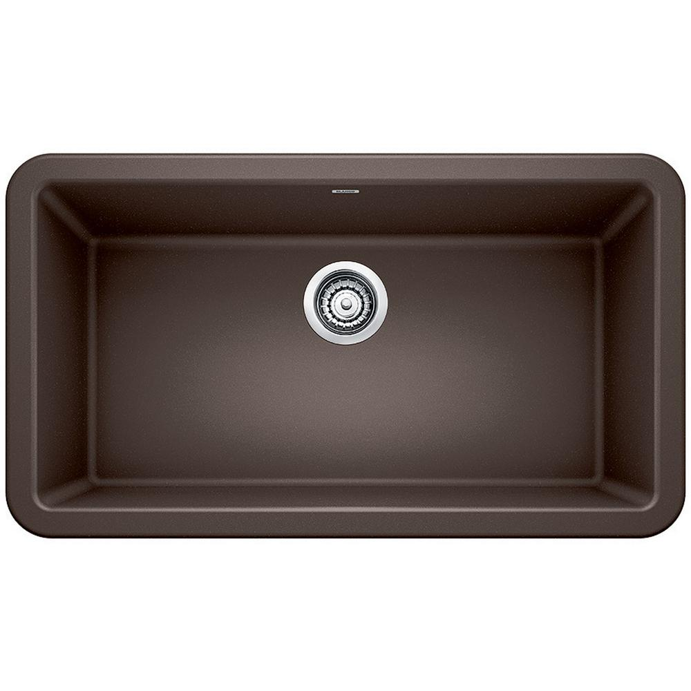 Blanco Ikon Farmhouse Apron Front Granite Composite 33 In Single Bowl Kitchen Sink In Cafe Brown 401896 The Home Depot