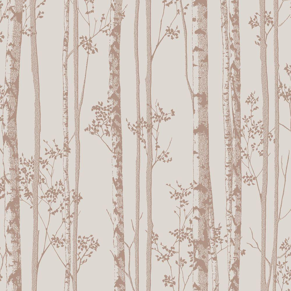 Graham & Brown Pebble and Rose Gold Linden Wallpaper 100523 - The Home Depot