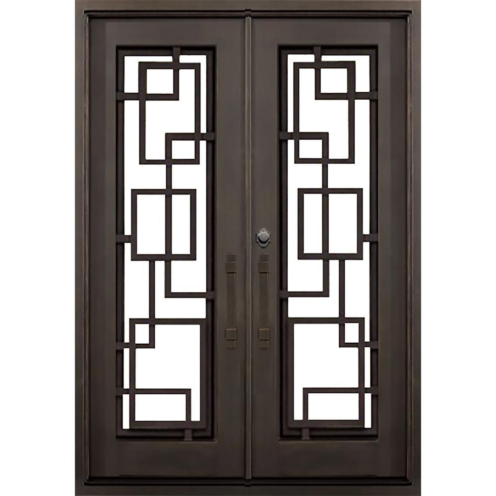 ALLURE IRON DOORS & WINDOWS 72 in. x 82 in. St.Andrews Flat Top Dark Bronze Full Lite Painted Wrought Iron Prehung Front Door (Hardware Included)
