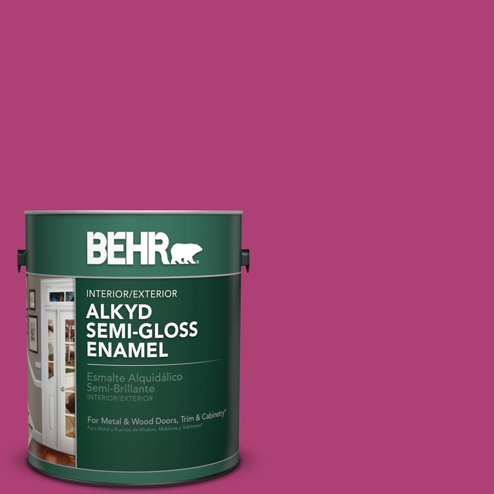 BEHR 1 gal. #100B-7 Hot Pink Semi-Gloss Enamel Alkyd Interior ...
