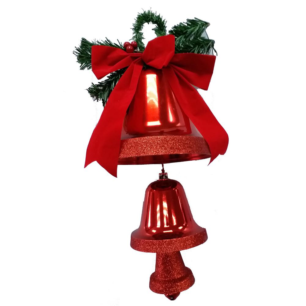 Home Accents Holiday 23 in. Three Hanging Bells in Red
