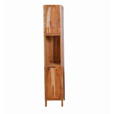 Tranquility 13.8 in. L x 16.2 in. W x 78.7 in. H Solid Teak Linen Closet in Natural Teak