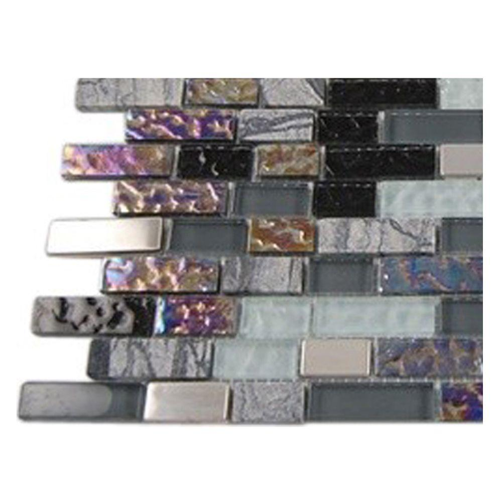 Splashback Tile Seattle Skyline Blend Bricks Marble And Glass Tile Bricks 6 In X 6 In X 8 Mm