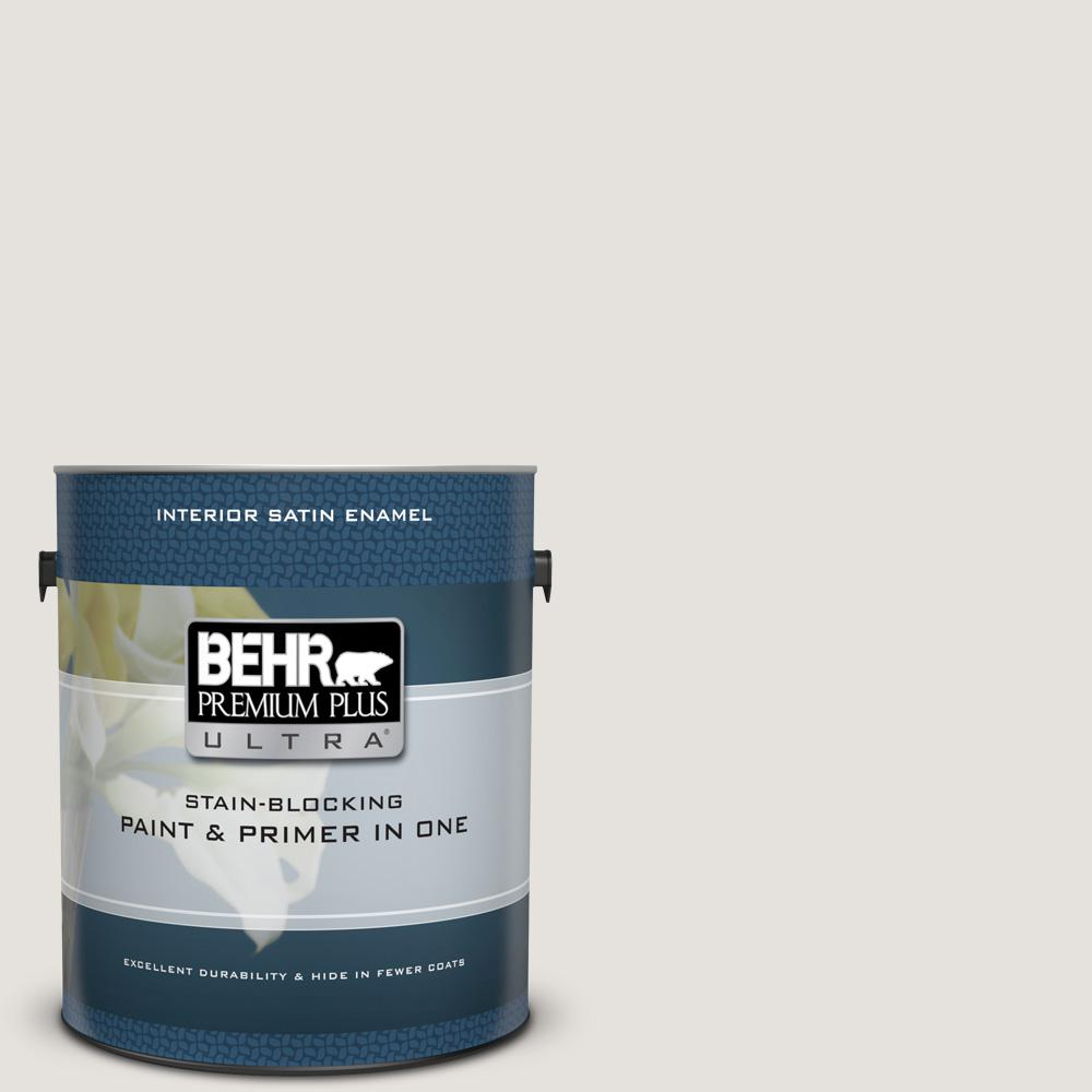 Behr Premium Plus Ultra 1 Gal Ppu18 08 Painters White Satin Enamel Interior