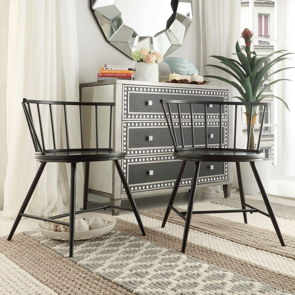 Walker Black Wood & Metal Low Back Dining Chair (Set of 2)