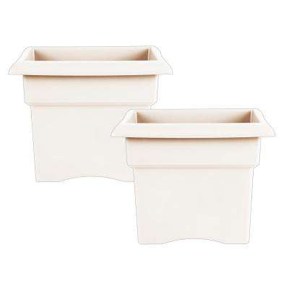 Veranda 18 in. x 14.25 in. White Plastic Square Deck Box Planter (2-Pack)