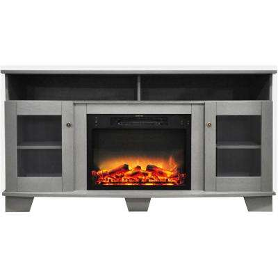 Savona 59 in. Electric Fireplace in Gray with Entertainment Stand and Enhanced Log Display
