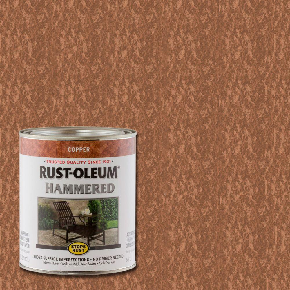 Rust Oleum Stops Rust 1 Qt Copper Hammered Rust Preventive Paint Case Of 2 239074 The Home