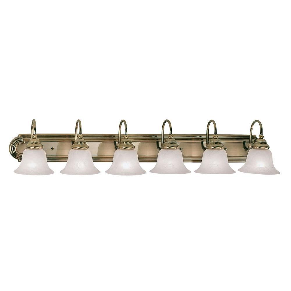 6-Light Antique Brass Bath Light with White Alabaster Glass Shade