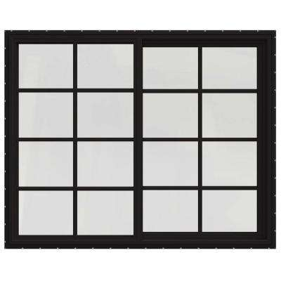 60 in. x 48 in. V-4500 Series Black FiniShield Vinyl Left-Handed Sliding Window with Colonial Grids/Grilles