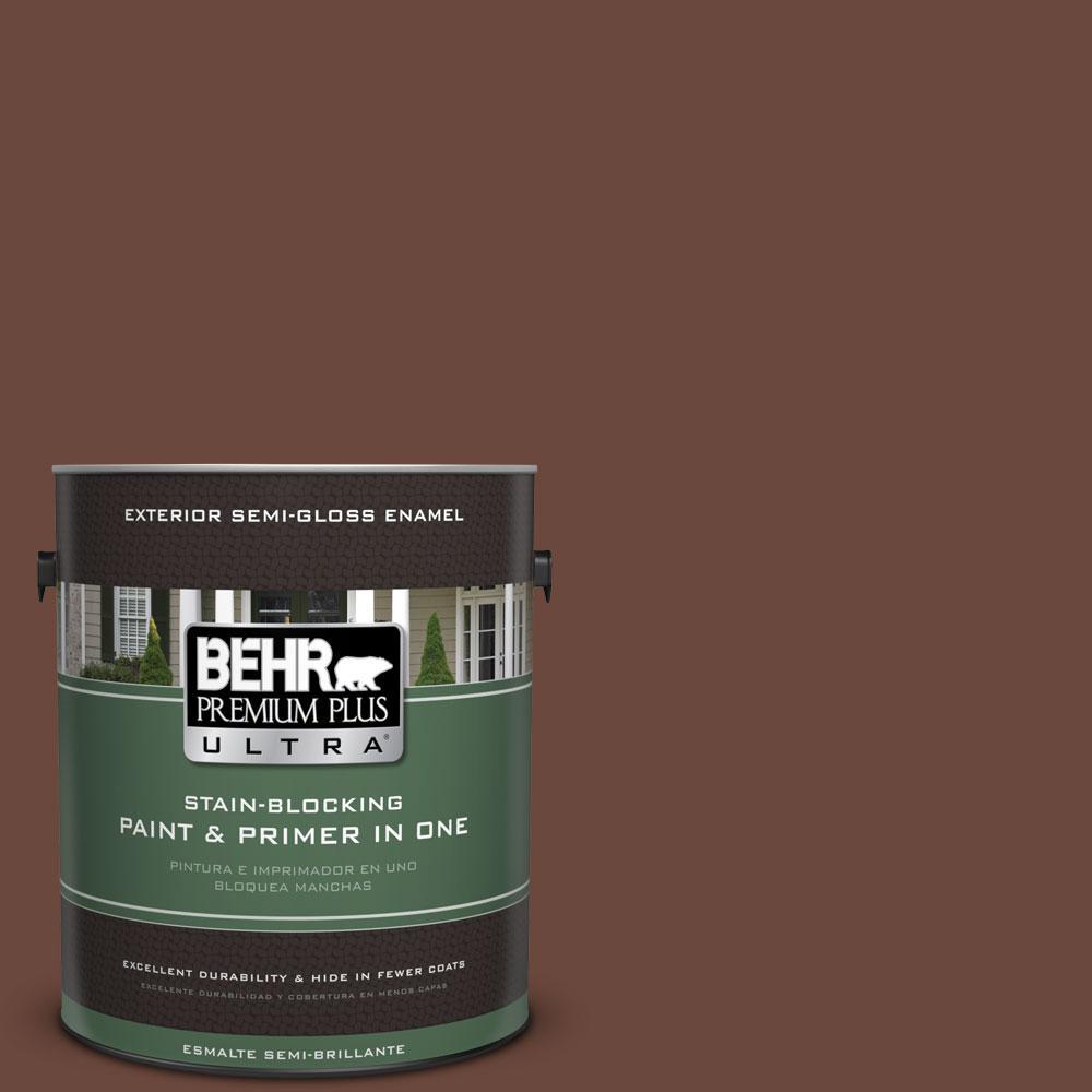 BEHR Premium Plus Ultra 1-gal. #bxc-45 Classic Brown Semi-Gloss Enamel Exterior Paint