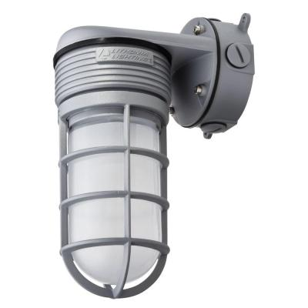 Gray Outdoor Integrated LED Vapor Tight Wall Lantern Sconce