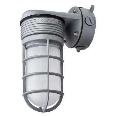 Gray Outdoor Integrated LED Vapor Tight Wall Lantern Sconce