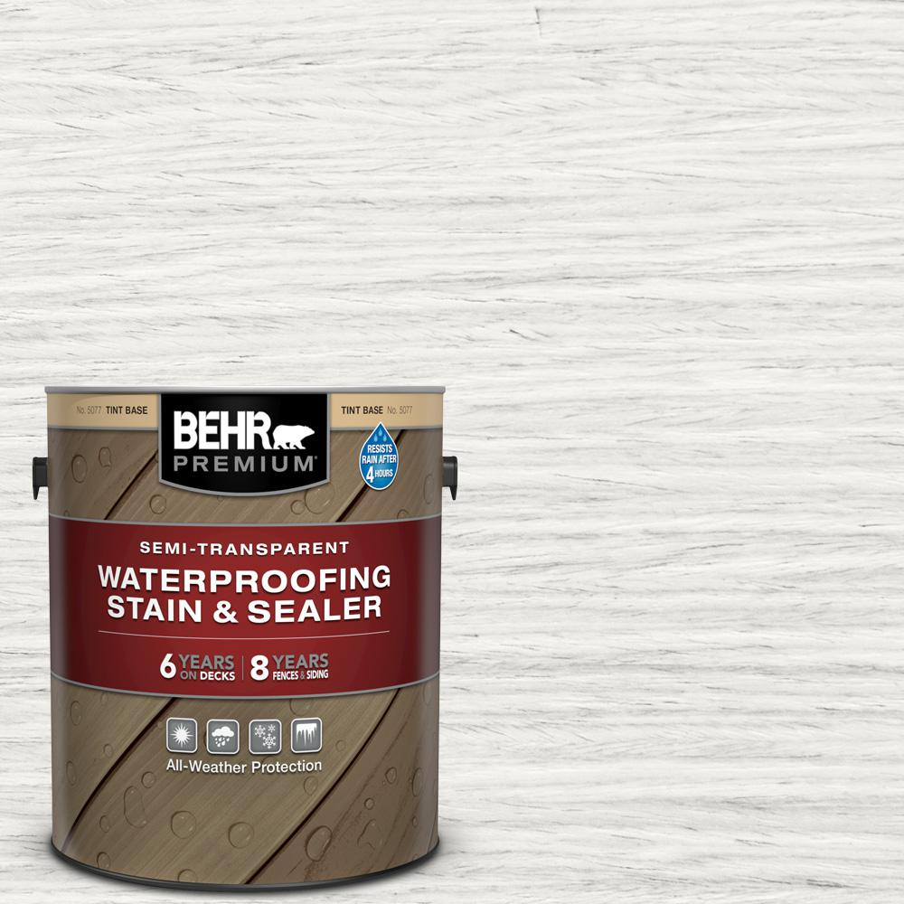 BEHR PREMIUM 1 gal. #ST-210 Ultra Pure White Semi-Transparent Waterproofing Exterior Wood Stain and Sealer
