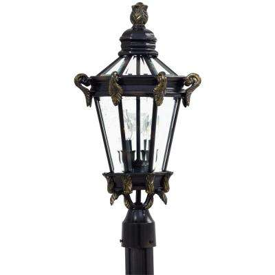 Stratford Hall 2-Light Outdoor Heritage Post Mount with Gold Highlights