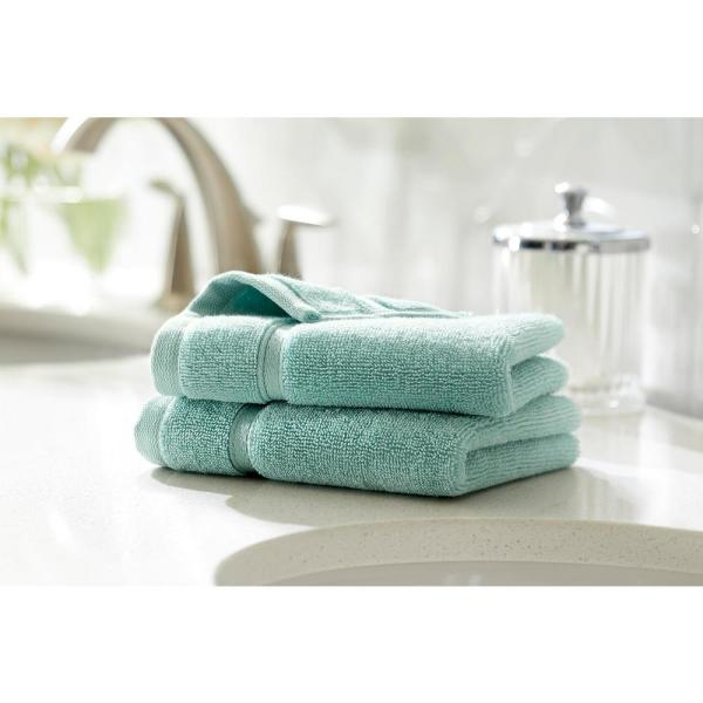 Home Decorators Collection Turkish Cotton Ultra Soft Wash Cloth in Aqua