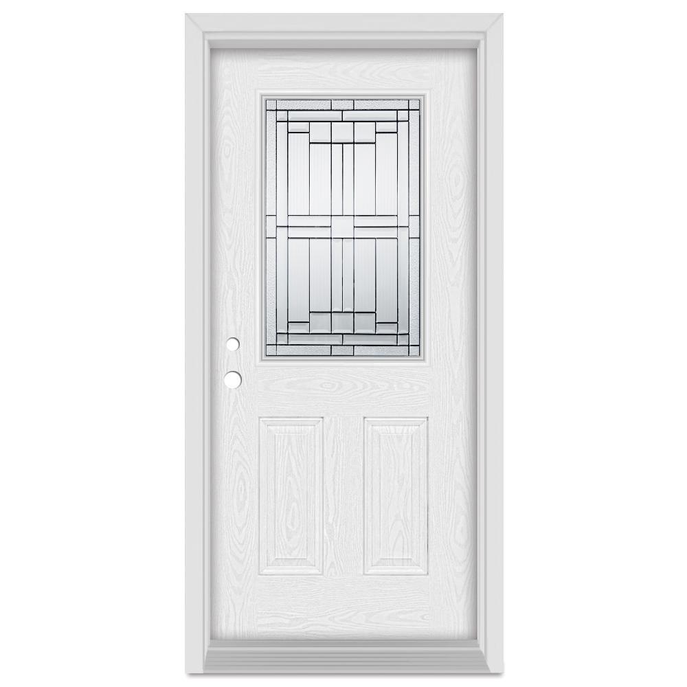 Stanley Doors 33.375 in. x 83 in. Architectural Right-Hand Patina Finished Fiberglass Oak Woodgrain Prehung Front Door Brickmould