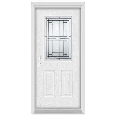 32 in. x 80 in. Architectural Right-Hand Patina Finished Fiberglass Oak Woodgrain Prehung Front Door Brickmould