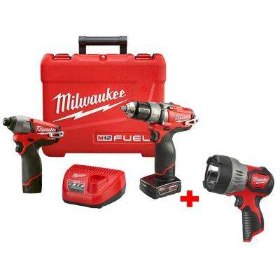 M12 FUEL 12-Volt Lithium-Ion Brushless Cordless 1/2 in. Hammer Drill/Impact Combo Kit w/ Free M12 LED Spotlight