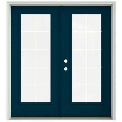 72 in. x 80 in. Revival Blue Painted Steel Right-Hand Inswing 10 Lite Glass Stationary/Active Patio Door