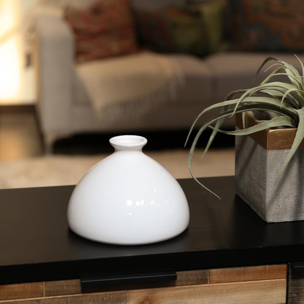 White Gloss Stoneware Decorative Vase