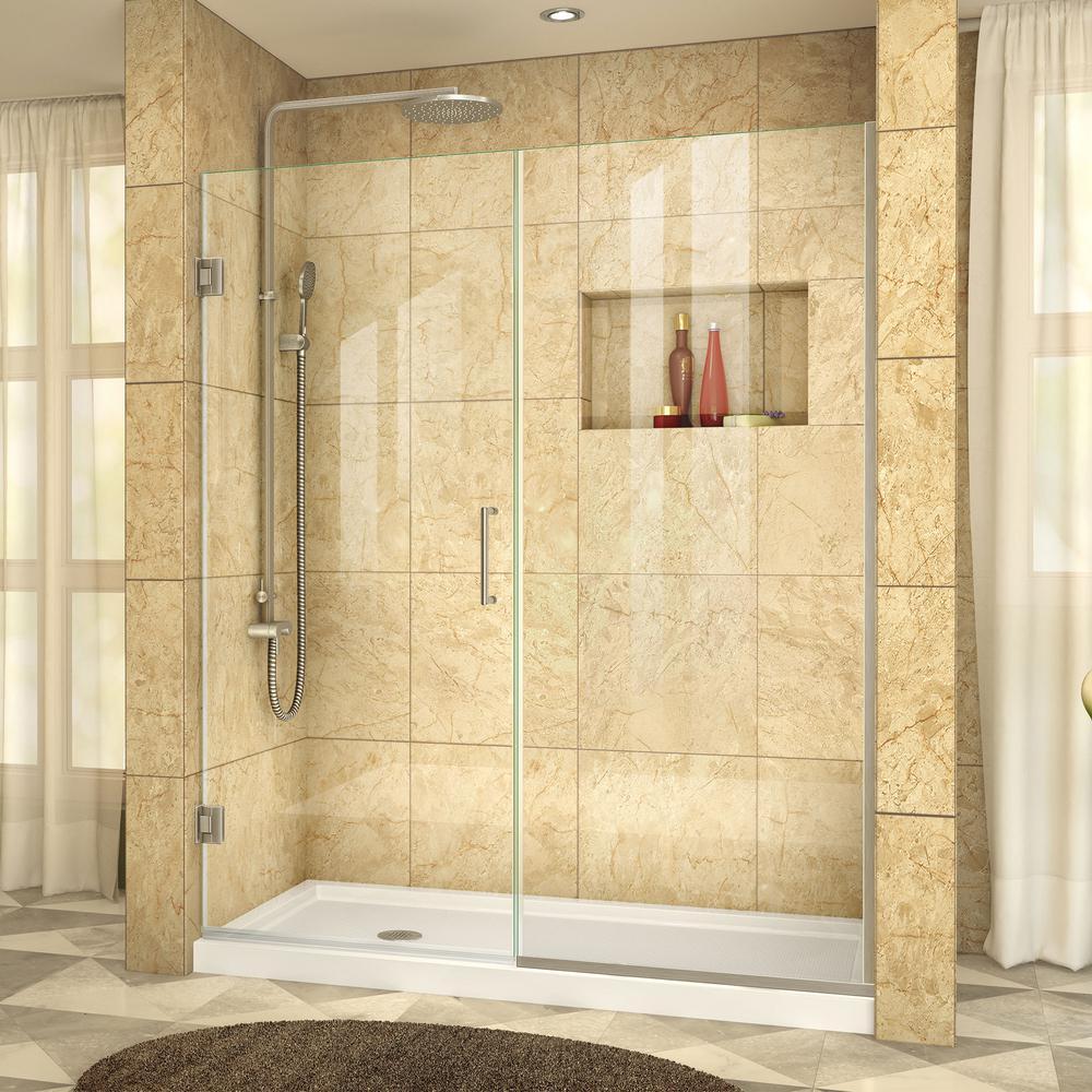 Unidoor Plus 57 in. to 57-1/2 in. x 72 in. Semi-Frameless Hinged Shower Door in Brushed Nickel