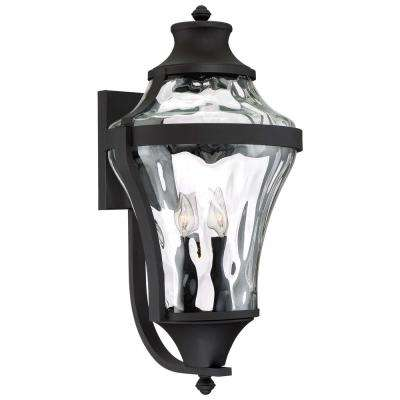 Libre Collection 4-Light Black Outdoor Wall Mount Lantern with Clear Water Glass