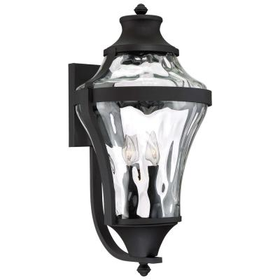 Libre Collection 4-Light Black Outdoor Wall Lantern Sconce with Clear Water Glass