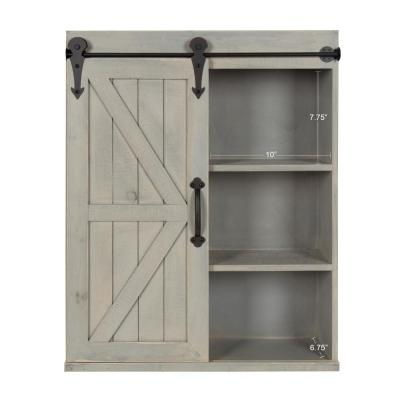 Cates 8 in. x 22 in. x 28 in. Gray Wood Decorative Cabinet Wall Shelf