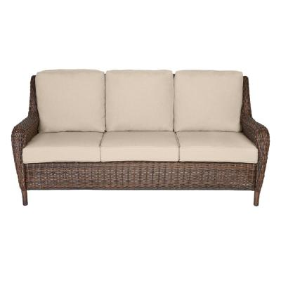 Cambridge Brown Wicker Outdoor Patio Sofa with Sunbrella Beige Tan Cushions