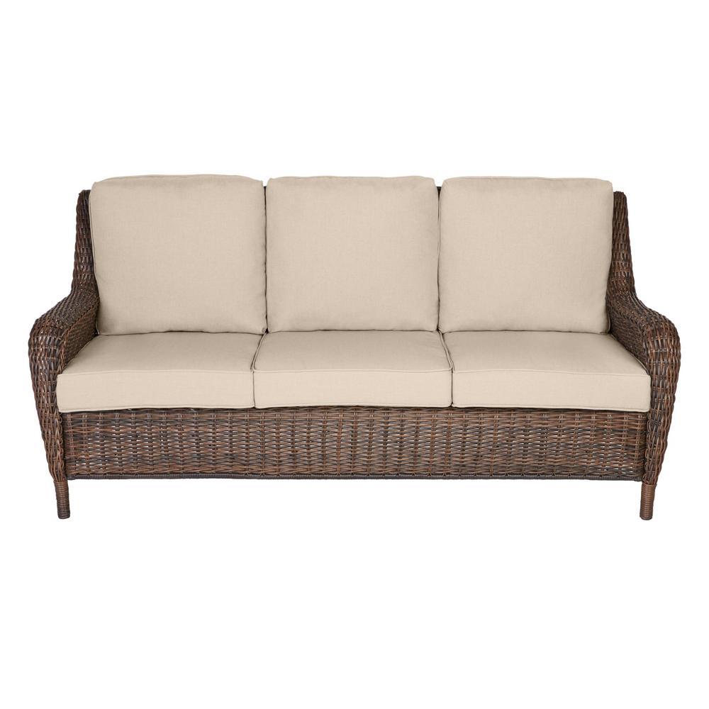 Cambridge Brown Wicker Outdoor Patio Sofa with Sunbrella Beige Tan Cushions