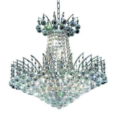 8-Light Chrome Chandelier with Clear Crystal