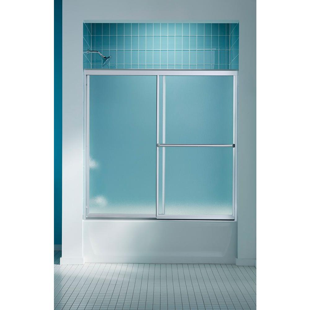 STERLING Prevail 59-3/8 in. x 56-3/8 in. Framed Sliding Bathtub Door in Silver with ComforTrack Technology