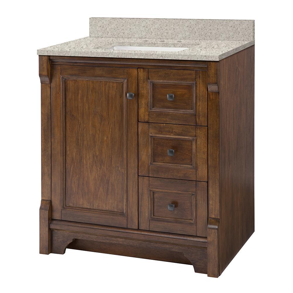 Home Decorators Collection Creedmoor 31 in. W x 22 in. D Vanity in Walnut with Engineered Marble Vanity Top in Sedona with White Sink
